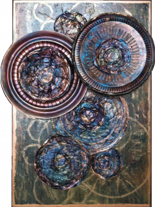"Lisa J LevasseurWheels of Change, 36"" x 24""PaletteArt™ Recycled Acrylic on canvaspermanent collection Landfill Art"