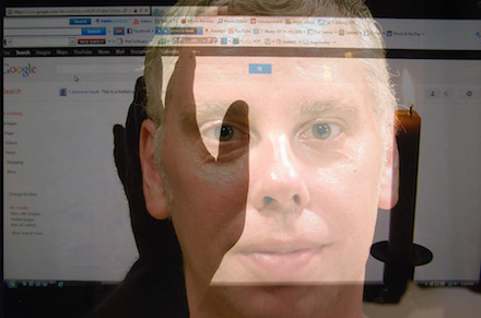 Collage image of Stephen Mead transposed over image of gmail, candle, and hand