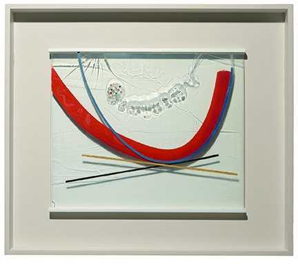 Laszlo Moholy-Nagy Papmac, 1943 oil and incised lines on Plexiglas, in original fram plexiglas: 58.4 x 70.5 cm; 91.1 x 101.9 cm private collection ©2016 Hattula Moholy-Nagy/VG Bild-Kunst, Bonn/Artists Rights Society (ARS), New York