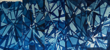 Kate Cordsen Untitled, 2016 Cyanotype on linen, 76 x 176 inches Courtesy of the artist