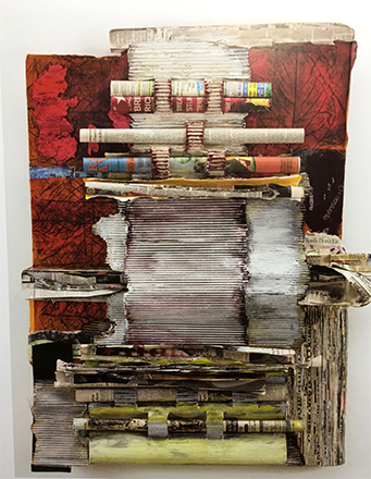 "Joan Giordano, Printer Matter. Mixed media with international newspapers and encaustic 30""x40"", 2012. Courtesy of Maja Kihlstedt."