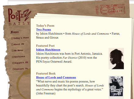 Poetry Daily Home Page