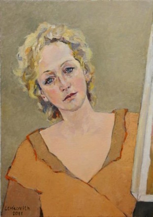 Lubov Meshulam Lemkovitch, Self Portrait, Oil and Canvas.