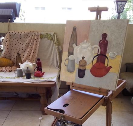 Lubov Lemkovitch's studio with still-life in progress