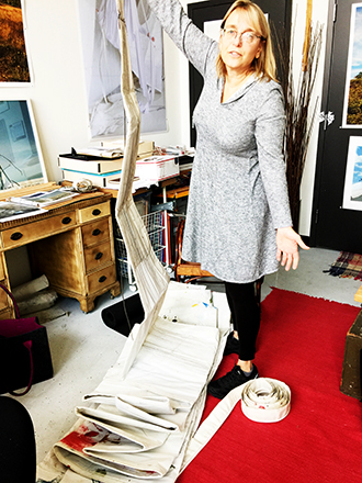 Sue Wrbican studying an actual sailwrbican-fig-3