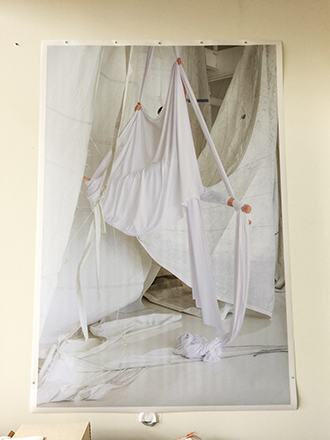 """Photographic print on myler of """"Acrobat Wrapped in Fabric"""" 60X42 inches"""