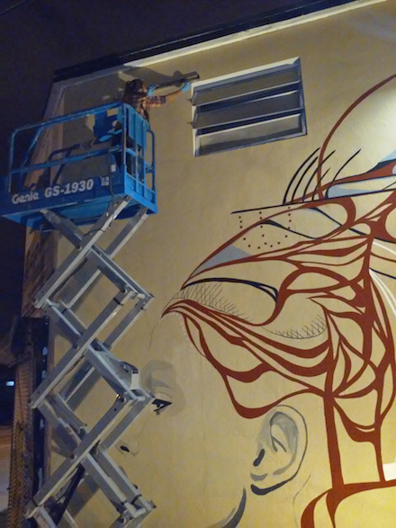 Ivette Cabrera working on Wynwood Mural