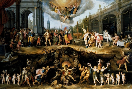 Frans Francken the Younger, Allegory of Man's Choice Between Virtue and Vice, Oil on panel, 142 x 210.8 cm, image courtesy of Artfix Daily