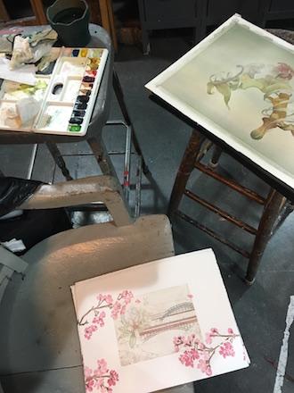 Experimenting with Watercolor, Yasuaki Okamoto's New York Studio
