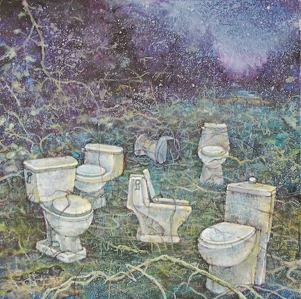 """Jean Eng, Ensuite: Night-Jars, Acrylic on canvas, 8"""" x 8"""""""
