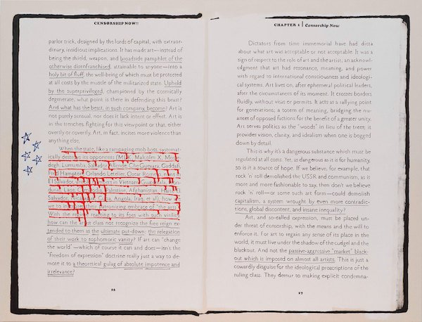"""Frances Stark, Ian F. Svenonius's """"Censorship NOW"""" for the 2017 Whitney Biennial, Spread 3 of 8 (pp.16-17) (the state, like a rampaging mob boss), 2017. Gesso, ink, oil and acrylic on canvas, 79 x 104 in. Collection of the artist; courtesy Gavin Brown's Enterprise, N.Y. Photograph Bill Orcutt"""