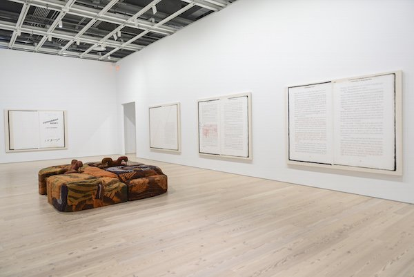 "Installation view of Frances Stark, Ian F. Svenonius's ""Censorship Now"" for the 2017 Whitney Biennial, Spread 1 of 8 (Sincerely), 2017. Collection of the artist; courtesy Gavin Brown's enterprise, New York. Whitney Biennial 2017, Whitney Museum of American Art, New York, March 17-June 11, 2017. Photograph by Matthew Carasella."
