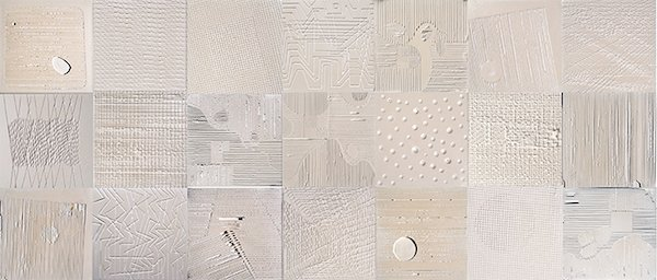 Terranova, Plaster & Pearl Series, 2014, plaster and pearls on canvas