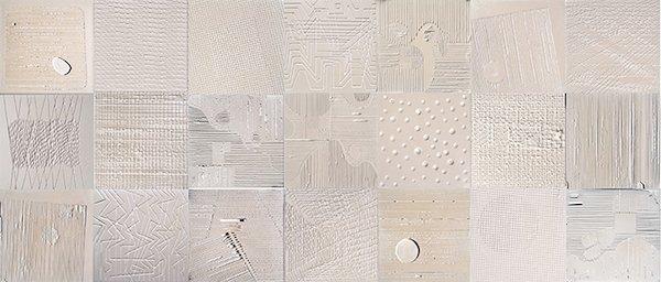 Terranova, Plaster & Pearl Series, 2014, plaster and pearls on canvas