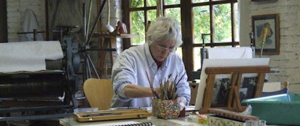 Barbara Milman at el Gallinero Printmaking Workshop, Granada, Spain, 2011