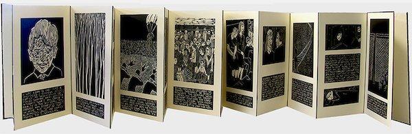 "Barbara Milman, Accordion book, linocut, original text, 13"" x 8 1/2"" x 1"" edition: 25"