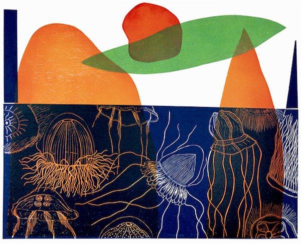 "Barbara Milman, Jellyfish #5, linocut, 22"" x 30"", monoprint"