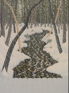 A drawing of the end of a bridge overlooking a path in the woods on a snowy day