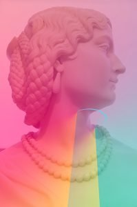 A photograph of a female bust statue, edited with pastel pink, yellow, and green highlights