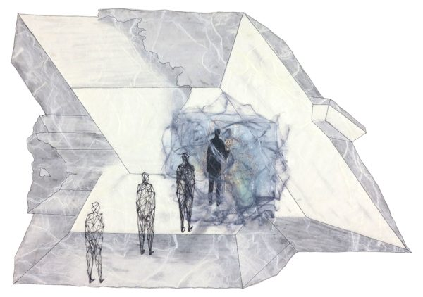 A hand-stitched work featuring a humanoid figure walking into a void